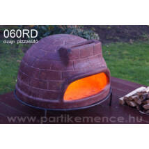 060RD fatüzelésű, kerámia dizájn pizzasütő  (szín: téglavörös)